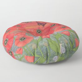 red sky, butterflies, poppies, & snails Floor Pillow