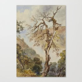 Charles Walters d'Oyly,  Tree struck by lightning, Landour; Figures outside a temple, the plains bey Canvas Print
