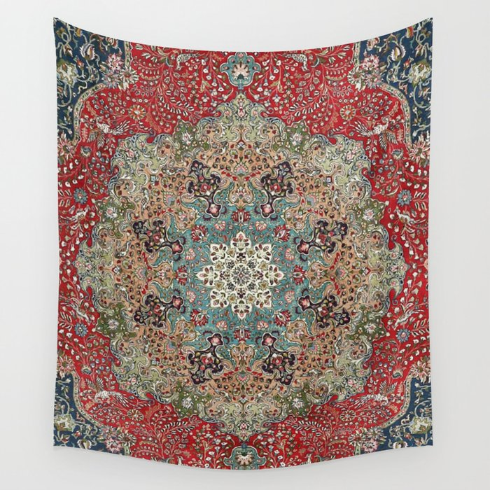 Antique Red Blue Black Persian Carpet Print Wall Tapestry