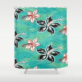 Black Hibiscus Jungle Print Shower Curtain