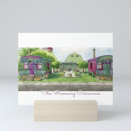 The Romany Caravans - Watercolor Village Mini Art Print