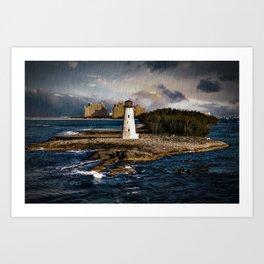 Bahamas Lighthouse with Resort Art Print