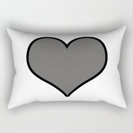 Pantone Pewter Gray Heart Shape with Black Border Digital Illustration, Minimal Art Rectangular Pillow