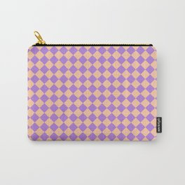 Deep Peach Orange and Lavender Violet Diamonds Carry-All Pouch