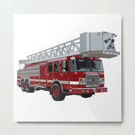 Fire Engine Truck with Ladder Metal Print