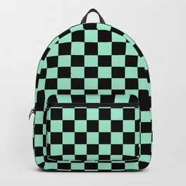 Black and Magic Mint Green Checkerboard Backpack