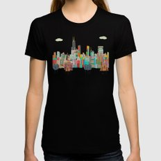 Chicago city (summer days) Womens Fitted Tee X-LARGE Black