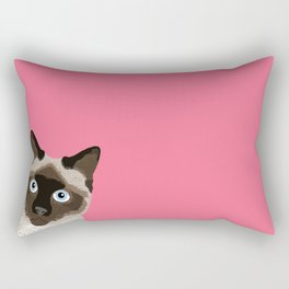 Peeking Siamese Cat - Funny cat meme for cat lovers, cat ladies gifts for cat people Rectangular Pillow
