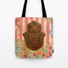 Hearts and Butterfly Hamsa Tote Bag