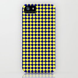 Electric Yellow and Navy Blue Diamonds iPhone Case