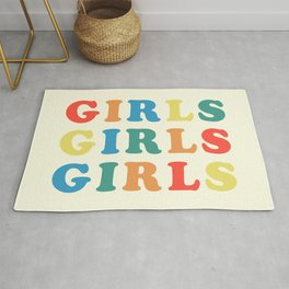 Girls Girls Girls Feminist Quote Rug