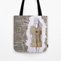 newspaper Tote Bags featuring Newspaper by Melania B