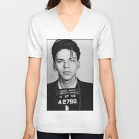 frank sinatra V-neck T-shirts featuring Frank Sinatra Mugshot by Neon Monsters