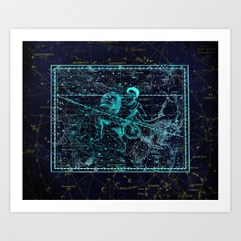 Aquarius, Constellation map, Zodiac, Sign sky, Stars, Universe, astrology, astrological Art Print
