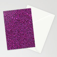 Pink & Black Glitter Cheetah Print Stationery Cards