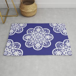 Floral Doily Pattern | Lace Crochet Doilies | Needle Crafts | Blue and White | Rug