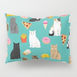 Cat breeds junk foods ice cream pizza tacos donuts purritos feline fans gifts Pillow Sham
