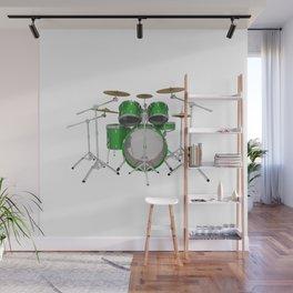 Green Drum Kit Wall Mural