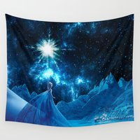 olaf Wall Tapestries featuring Frozen - Elsa by Thorin