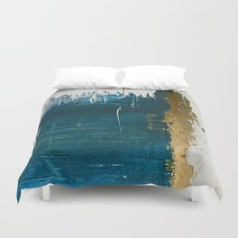 Rain [3]: a minimal, abstract mixed-media piece in blues, white, and gold by Alyssa Hamilton Art Duvet Cover