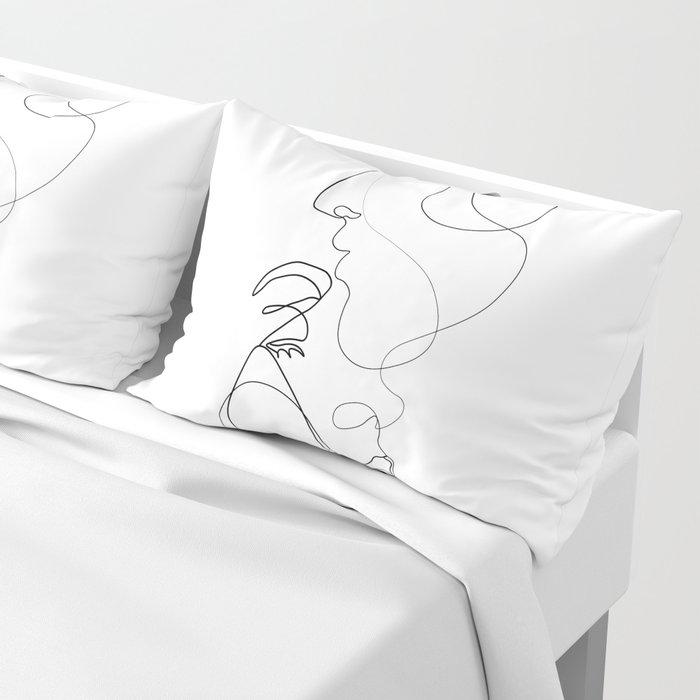 Lovers - Minimal Line Drawing Art Print 2 Pillow Sham
