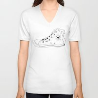 chuck V-neck T-shirts featuring Colored Chuck by LEIGH ANNE BRADER