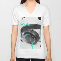headphones V-neck T-shirts featuring Headphones by Oliver Green
