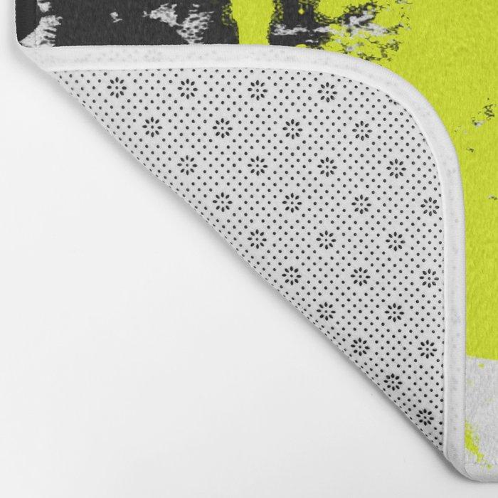 Surprise! Black and yellow abstract paint splat artwork Bath Mat