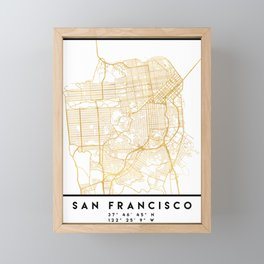 SAN FRANCISCO CALIFORNIA CITY STREET MAP ART Framed Mini Art Print