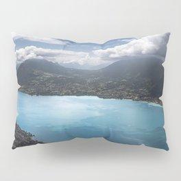 Lake Lugano Alpine Mountaintop view, Switzerland volcanic lake photograph Pillow Sham