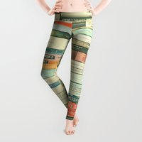 abstract art Leggings featuring Bookworm by Cassia Beck