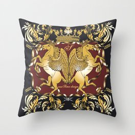 Royal Horses Bordeaux  Throw Pillow