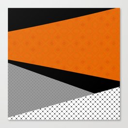 Abstract black orange painting . Canvas Print