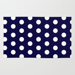 White dots in dark blue Rug