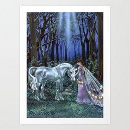 Unicorn and Fairy Art Print