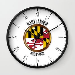 Maryland Proud Flag Button Wall Clock