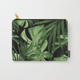 Tropical Jungle Night Leaves Pattern #5 #tropical #decor #art #society6 Carry-All Pouch