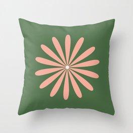 Big Daisy Retro Minimalism in Blush and Green Throw Pillow