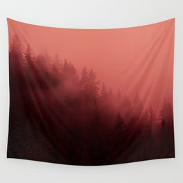0366 Chocolate Forest with Living_Coral Fog, AK Wall Tapestry
