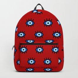 Evil Eye on Red Backpack