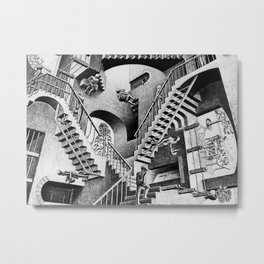 MC Escher Relativity I 1953 Artwork Reproduction for Posters Prints Tshirts Men Women Kids Metal Print