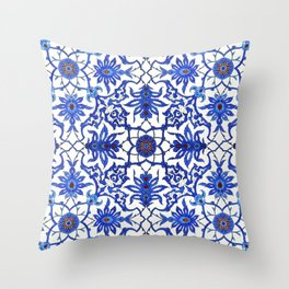 Art Nouveau Chinese Tile, Cobalt Blue & White Throw Pillow