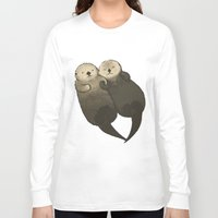 otters Long Sleeve T-shirts featuring Significant Otters - Otters Holding Hands by StudioMarimo
