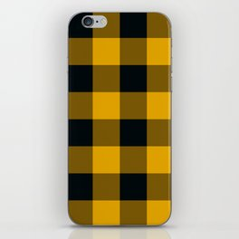 Yellow & Black Buffalo Plaid iPhone Skin