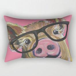 Pink Pig Painting, Cute Farm Animal Rectangular Pillow