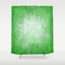 Abstract Geometric Shape Green Stained Glass Modern Shower Curtain