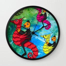 MULTICOLOUR SEAHORSES Wall Clock