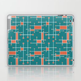 Intersecting Lines in Teal, Coral and White Laptop & iPad Skin