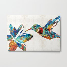 Colorful Hummingbird Art by Sharon Cummings Metal Print