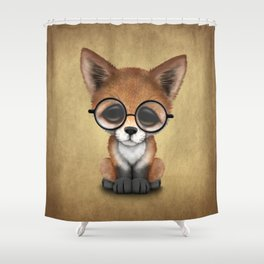 Cute Red Fox Cub Wearing Glasses Shower Curtain